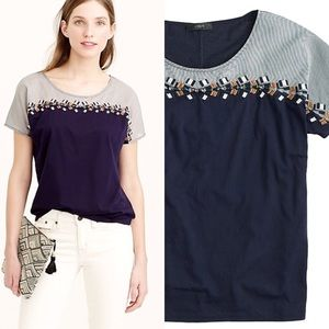 J.Crew Embroidered Colorblock T-Shirt Navy  Large